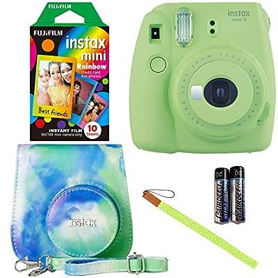 Ritz Gear Fujifilm Instax Mini 9 - Lime Green Instant Camera, 10 Prints Fujifilm Instax Rainbow Instant Mini Film, Fujifilm Instax Groovy Camera Case - Watercolor from FUJIFILM