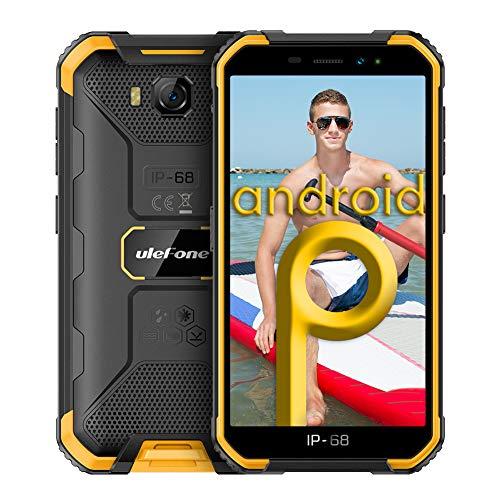Smartphones ohne Vertrag, Ulefone Armor X6 Günstig Outdoor Handy, Wasserdicht IP68/IP69K, Quad-Core, 2+16GB ROM, 8MP Hauptkamera 5MP Vordere Kamera, Android 9.0, 5.0 Zoll, 4000mAh - Orange