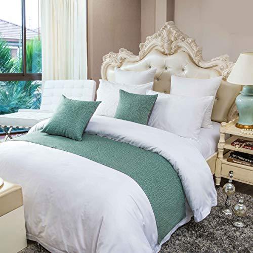 OSVINO Bettläufer Einfarbig-Serie Polyester Vintage Bett Deko für Wohnzimmer, Grün 180 x 45cm für 120cm Bett