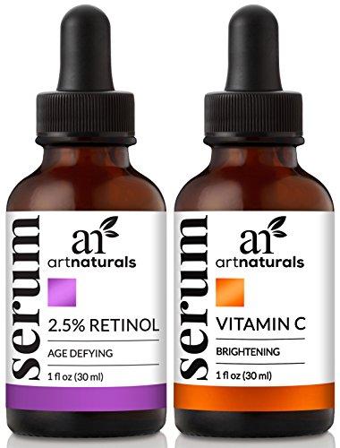 Set de 2 sérums orgánicos Art Naturals con vitamina C y retinol, combate las arrugas y ojeras, terapia antienvejecimiento mañana y noche, ingredientes naturales, tratamiento hidratante, 30 ml