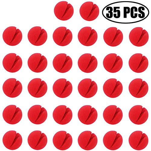 TIHOOD 35PCS 2'x2' Red Circus Clown Nose Bulk for Party Halloween Costume Supplies Christamas