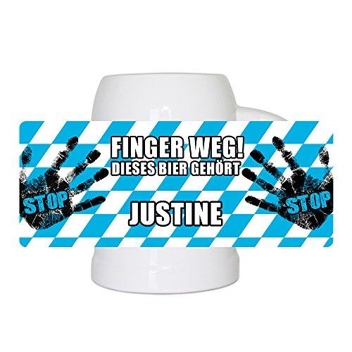 Lustiger Bierkrug mit Namen Justine und schönem Motiv Finger weg! Dieses Bier gehört Justine | Bier-Humpen | Bier-Seidel