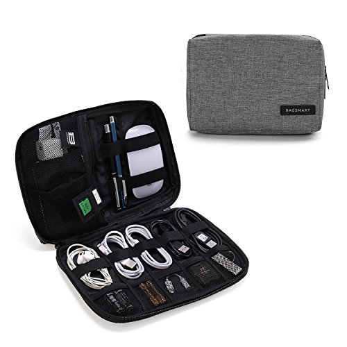 BAGSMART Electronics Accessories Organiser Bag, Portable Electronics Carrying Case Travel Small for Cables, Powerbank, Earphone, USB sticks, SD Card (Grey)