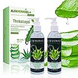 Thnkstaps Aloe Vera Gel de Aloe Vera orgánico puro Aloe Vera Crema Hidratante Facial y Corporal Regenerador 100% natural Hidratante para Todo tipo de piel, Cuerpo 250 ml x 2 unidades