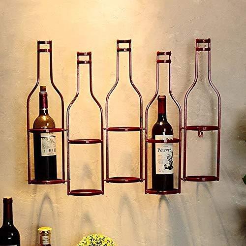 Equipo Vino Estante para Vino Tinto Colgante de Pared Sala de Estar Comedor Bar Gabinete para Vino Soporte para Botella de Vino Estante para Vino de Metal Pared de bambú (Color: Negro)