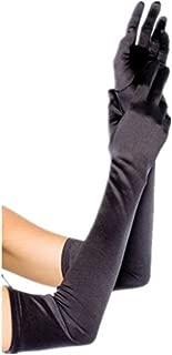 "DreamHigh Womens 22"" Finger Mittens Over Elbow Long Black/White Evening Gloves"
