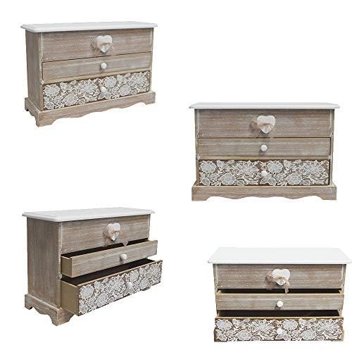 DRULINE Mini Kommode Schränkchen Ablagefläche Stauraum Kleinigkeiten aus Holz | L x B x H 30 x 11 x 19 cm | Natur Taupe