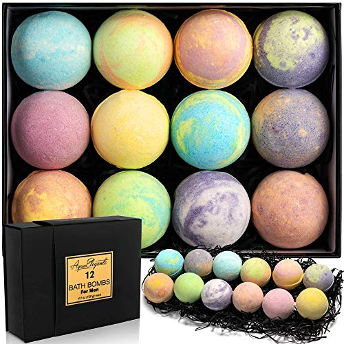 Luxury Bath Bombs for Men  Gift Set of 12 Large Bathbombs with Organic Essential Oils  Natural Vegan Soap for Moisturizing Fizzy Bubbles