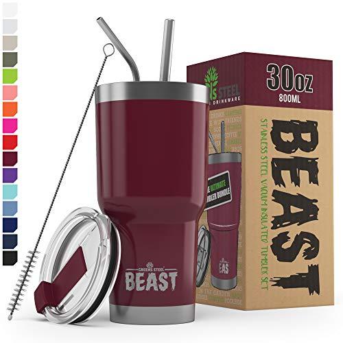New Beast Tumbler Edelstahl Vakuum Isoliert Rambler Kaffee Tasse Doppelwandige Reise Fläschchen (30oz, Preiselbeere)