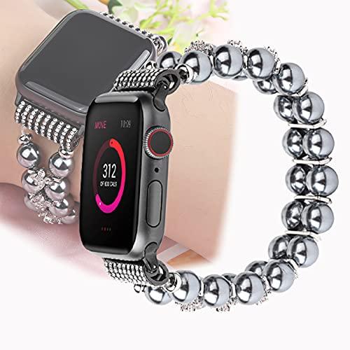 Compatible con Apple Watch Band, Correa De Pulsera De Cuentas De Cristal De Piedras Preciosas Naturales Elásticas Hechas A Mano para Mujer Niña para Iwatch Series 5/4/3/2/1,42mm/44mm
