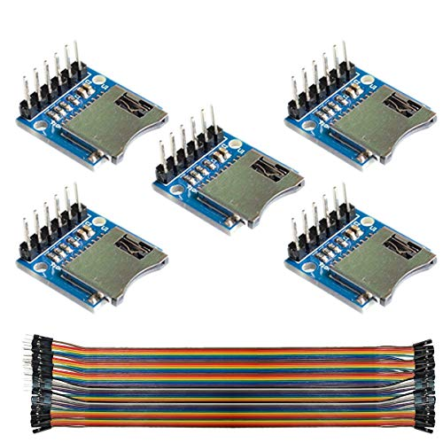 Youmile 5PACK TF Micro SD-Kartenmodul Speicherschutzmodul Micro SD-Speichererweiterungskarte Mini Micro SD-TF-Karte Mit Stiften für Arduino ARM AVR Mit Dupont-Draht