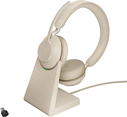 discount Jabra Evolve2 65 USB-C high quality UC Stereo with 2021 Charging Stand - Beige Wireless Headset/Music Headphones outlet sale