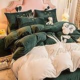 funda nordica cama 180x200,Cama de terciopelo de leche de invierno juego de cuatro piezas de terciopelo de doble cara engrosado más sábana de franela de terciopelo funda nórdica funda de almohada reg