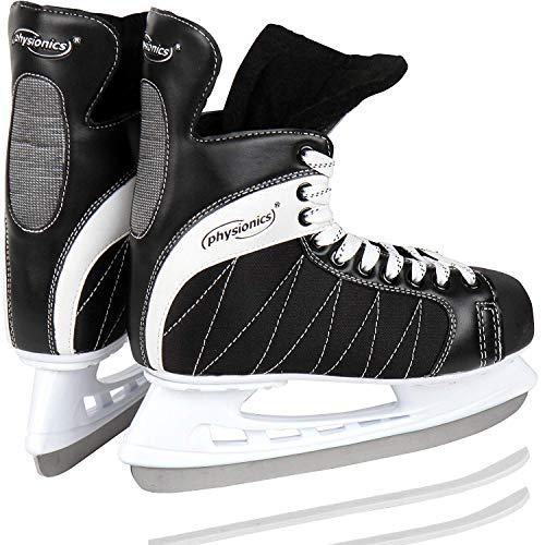 Physionics Eishockey Schlittschuhe für Erwachsene - mit flexiblem Oberflächenmaterial in Größe 46, für Anfänger und Fortgeschrittene, Schwarz -...