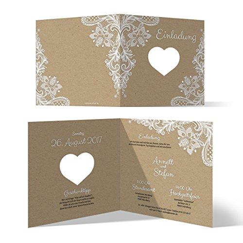 Lasergeschnittene Hochzeit Einladungskarten (30 Stück) - Rustikal Kraftpapier - Hochzeitskarten