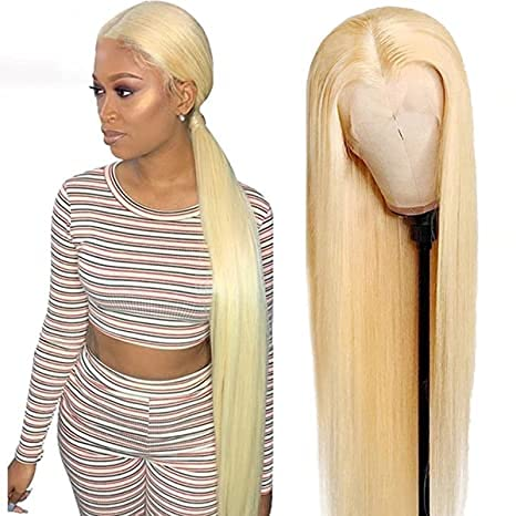 613 Blonde Middle Part Lace Front Wigs 42inch Human Hair Wigs Brazilian Straight Human Hair Wigs for Women Pre Plucked With Baby Hair (42inch, T-Part Wig)