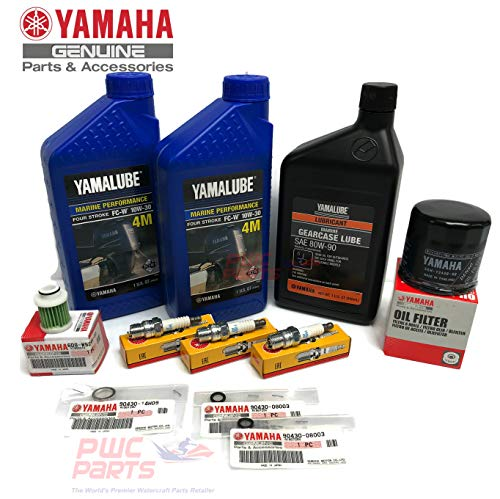 YAMAHA 2009+ F40A Outboard Oil Change 10W30 FC 4M Lower Unit Gear Lube Drain Fill Gaskets Spark Plugs NGK DPR6EB-9 Maintenance Kit
