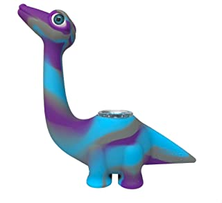 Silicone Honey Straw Complete Water Pipe 5 inch High Silicone Dinosaur Hookah Suit (Dinosaur)