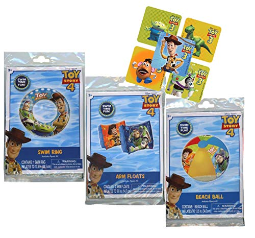 UPD Licensed Swim Sets! Pool Toys Bundle! Swim Ring, Arm Floats, Beach Ball and Water Blaster in All Your Favorite Characters! (3 Piece, Toy Story)