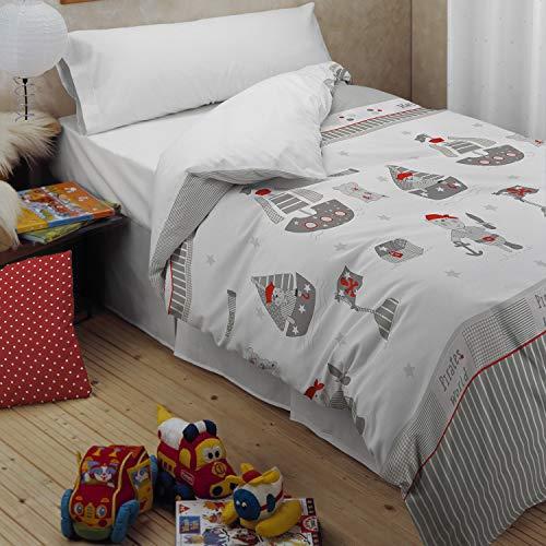 Funda nórdica para niños de piratas, para cama de 90 cm.