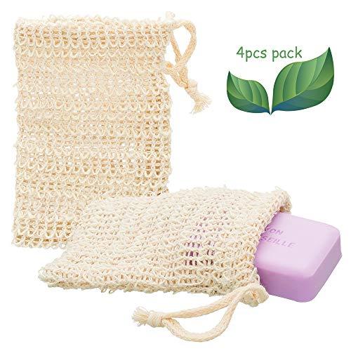 ECENCE 4X Sisal Seifenbeutel Seifensäckchen Set Bio Natur Seifennetz plastikfreie Produkte nachhaltig für unsere Umwelt 12020104
