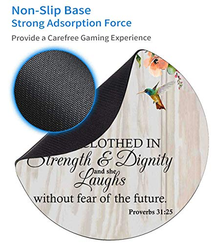 Round Mouse Pad and Coasters Set, Proverbs 31:25 Christian Quotes Bible Verse Mousepad, Anti Slip Rubber Round Mousepads Desktop Notebook Mouse Mat for Working and Gaming Photo #3