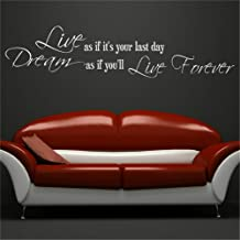Cbina Vinyl Wall Sticker Decal Quote Home Decor Dream As If You'll Live Forever Quote for Living Room