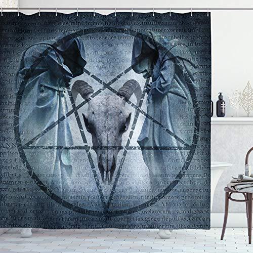ABAKUHAUS Horror Haus Duschvorhang, Teufel Traum Scary, mit 12 Ringe Set Wasserdicht Stielvoll Modern Farbfest und Schimmel Resistent, 175x200 cm, Blau