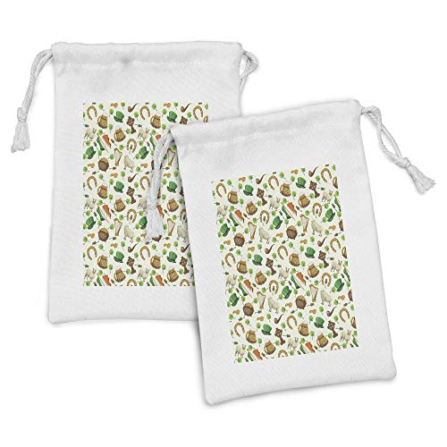 Ambesonne Clover Fabric Pouch Set of 2, Irish Culture Themed Pattern Beer Horse Shoe Coin Pot Leprechaun Hat, Small Drawstring Bag for Toiletries Masks and Favors, 9' x 6', Ivory Multicolor