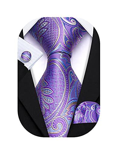 Barry.Wang Men Lavender Ties Silk Groom Fashion Necktie Handkerchief Cufflinks Wedding Party Formal