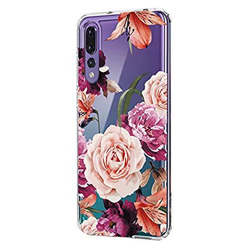 Hülle Case Kompatibel für Huawei P20 Handyhülle,Huawei P20 Pro Schutzhülle Ultradünn Transparent Silikon Soft TPU Crystal Clear Bumpe Schutzhülle für Huawei P20 Lite Blumen Marmor (Huawei P20 Pro, 4)