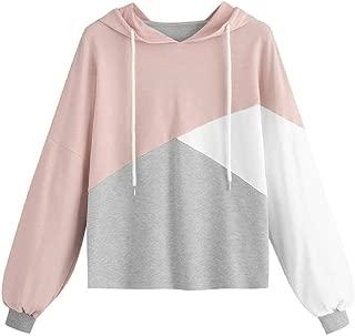 Womens Autumn Long Sleeve Patchwork Drawstring Sweatshirt Hooded Pullover Tops Women Fall Clothing Feminina Hoodie
