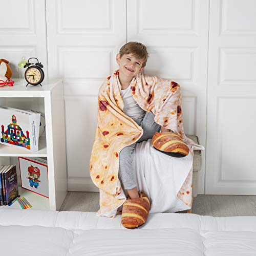 Dreamseeker Burrito Blanket & Bread Slippers Bundle – Giant & Round Funny Flannel Tortilla Blanket for Adult, Kids, and Baby – Premium Quality Taco Blanket - Soft and Comfortable