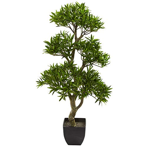 "Nearly Natural 37"" Bonsai Styled Podocarpus Artificial Silk Trees Green"