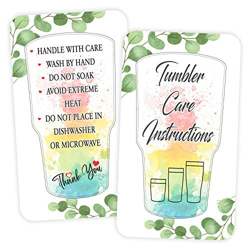 """Tumbler Care Instruction Cards - (Pack of 100) 3.5"""" x 2"""" Package Insert for Tumbler Cleaning Customer Directions"""