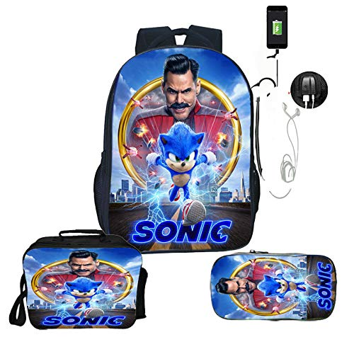 LINJIA Sonic Meal Pack Set Sonic Backpack with Pen Bag 3pcs Set Boy Girl Cartoon Anime School Bag Teenager Bookbag Student Back to School Gift