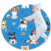 エリアラグ軽量 動物の犬種の足(1) フロアマットソフトカーペット直径27.6インチホームリビングダイニングルームベッドルーム