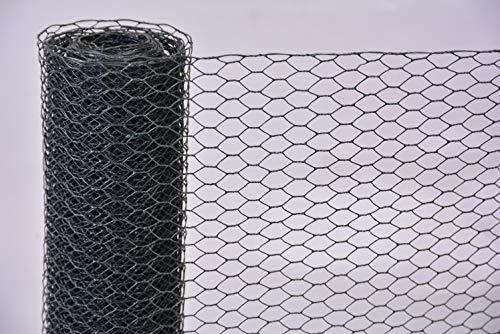 Sechseckgeflecht anthrazit Auswahl Maschendraht Hasen- Kükendraht Gehege Zäune (13 x 13 mm x 500 mm, 10 m)
