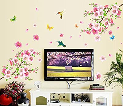 Wall Stickers, Kimloog Cherry Blossom Tree Butterfly Removable Self Adhesive PVC Art Decal Home Decor