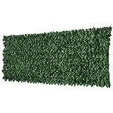Outsunny Rotolo di Siepe Artificiale per Balcone e Giardino in PE Anti-UV, Siepe Finta con Foglie Verde Scuro 300x100cm