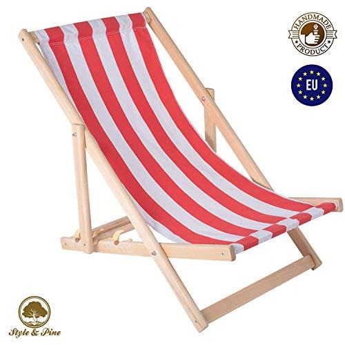 Amazinggirl Liegestuhl klappbar aus Holz - Klappliegestuhl mit armlehne Strandstuhl Holzklappstuhl Garten Liegestuhl Balkon Sonnenstuhl Gartenliegen