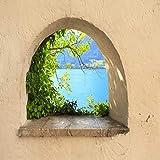 3D falso etiqueta de la ventana marco de la ventana etiqueta barro arco papel tapiz mural apliques decoración del hogar fondo niños dibujos animados animal paisaje vinilo 60x90cm
