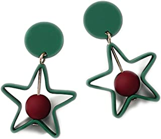 Colors Hollow Brincos Dangle Round Drop Pentagram Earrings Jewelry Square