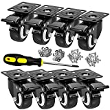 """CLOATFET Caster Wheels, 2"""" Casters with Brake, No Noise Swivel Casters with Set of 8, Polyurethane (PU) Wheels with Locking, 8 pack Castors, Heavy Duty Plate Casters"""