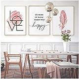 BD-Boombdl Nordic Pink Feather Love Happy Poster Wall Art Canvas Print Pintura Imagen Sala de Estar Dormitorio Decoración del hogar 40X60 Cm X3 Sin Marco