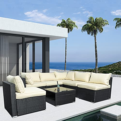 7-Piece Outdoor Patio Sofa Furniture Sets, PE Rattan Wicker Outdoor Conversation Set with Cushions and Coffee Glass Table for Lawn, Terrace, Poolside, Backyard, Garden (Black)