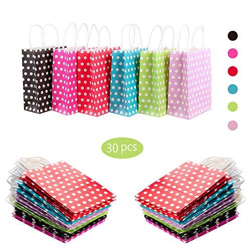 30 Stücke Papiertüten aus Kraftpapier,Party Taschen Geschenk Punkt Papiertüten Einkaufstüten Handwerk Papiertüten Mittagessen Flache Unterseite Papiertüten, zum Basteln, Verzieren und Verschenken