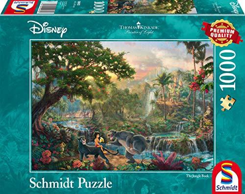 Schmidt Games 59473 Thomas Kinkade 59473-Thomas, Disney jungle-boek, puzzel, 1000 stuks, kleurrijk