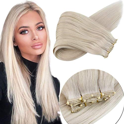 Sunny Weft Human Hair Extensions Sew in Beads Platinum Blonde Micro Weft 24inch Length 12inch Width Real Micro Weft Human Hair Extensions 50g