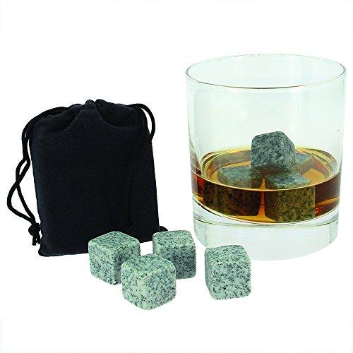 """9er SET Whisky Steine Whiskey Stones aus natürlichem Speckstein für Getränke """"on the rocks"""", Kühlsteine im praktischen Stoffbeutel von notrash2003®"""